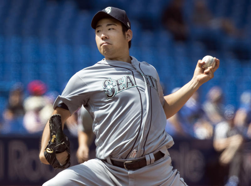 Seattle Mariners starting pitcher Yusei Kikuchi throws against the Toronto Blue Jays during the seventh inning a baseball game in Toronto, Sunday Aug. 18, 2019. (Fred Thornhill/The Canadian Press via AP)