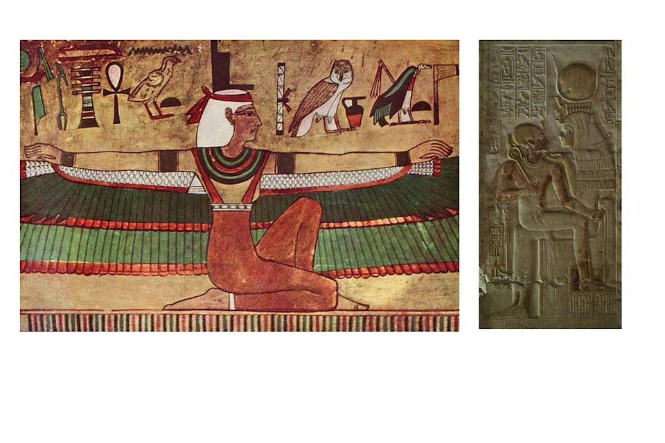 Goddess carries the royal throne and Goddess is the throne: Isis in Egyptian temple circa 1300 BCE