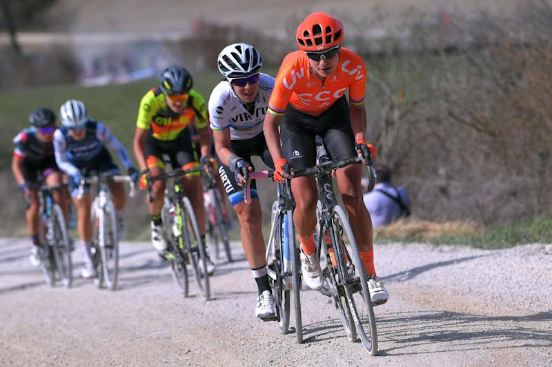 SIENA ITALY MARCH 09 Marianne Vos of The Netherlands and Team CCCLiv Marta Bastianelli of Italy and Team Virtu Cycling during the 5th Strade Bianche 2019 Women a 136km race from Siena to Siena Piazza del Campo StradeBianche Eroica on March 09 2019 in Siena Italy Photo by Luc ClaessenGetty Images