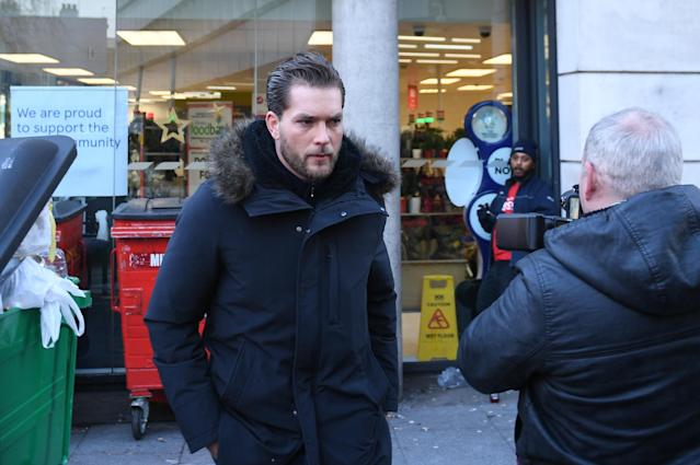 Lewis Burton arrives at Highbury Corner Magistrates' Court, where his girlfriend Caroline Flack is charged with assault. (PA)