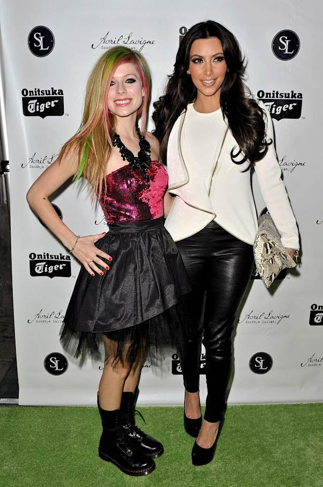 "Sporting a pink and black Betsey Johnson frock, Avril Lavigne celebrated the release of her fourth studio album, <i>Goodbye Lullaby</i>, at SL Lounge in New York City Tuesday night with friends and family, including reality queen Kim Kardashian. D Dipasupil/<a href=""http://www.gettyimages.com/"" target=""new"">GettyImages.com</a> - March 8, 2011"