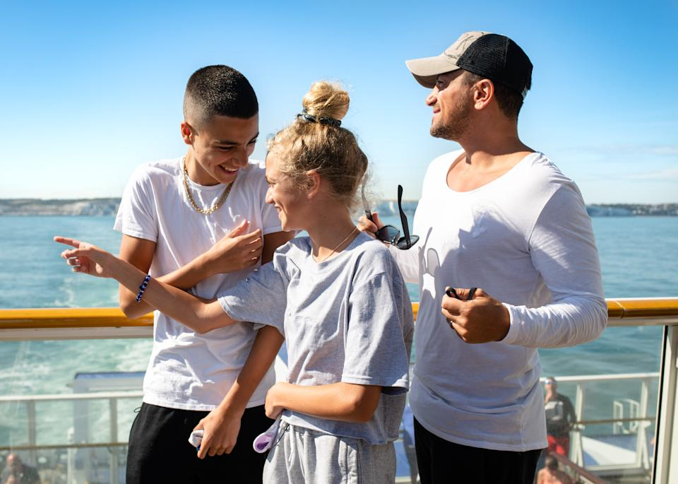 EMBARGOED TO 0001 MONDAY AUGUST 10 EDITORIAL USE ONLY Peter Andre and his children Junior and Princess set sail for France onboard a P&O Ferry for a family holiday following the Covid-19 lockdown.