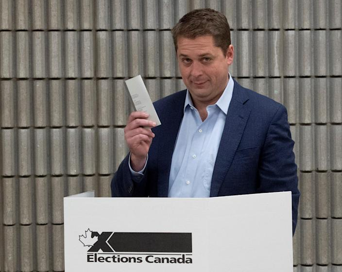 Conservative leader Andrew Scheer holds up his ballot after marking his choice at a polling station in his riding in Regina, Saskatchewan, Canada October 21, 2019. Adrian Wyld/Pool via REUTERS