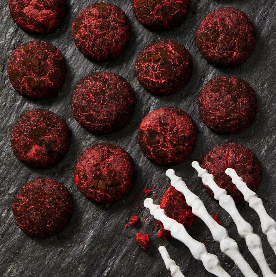"<p>We rolled chewy red velvet cookie dough in dark black cocoa powder (we love <a href=""https://shop.kingarthurbaking.com/items/black-cocoa-12-oz"" rel=""nofollow noopener"" target=""_blank"" data-ylk=""slk:King Arthur brand"" class=""link rapid-noclick-resp"">King Arthur brand</a>) for an extra-spooky effect.</p><p><em><a href=""https://www.goodhousekeeping.com/food-recipes/a28509374/black-and-red-crinkle-cookies-recipe/"" rel=""nofollow noopener"" target=""_blank"" data-ylk=""slk:Get the recipe for Black and Red Crinkle Cookies »"" class=""link rapid-noclick-resp"">Get the recipe for Black and Red Crinkle Cookies »</a></em></p>"