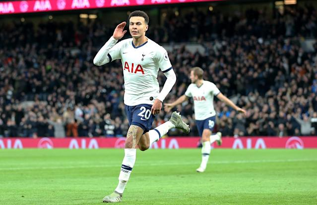 Tottenham Hotspur's Dele Alli celebrates scoring his side's second goal of the game against AFC Bournemouth on Nov. 30, 2019 at Tottenham Hotspur Stadium. (Steven Paston/EMPICS/PA Images via Getty Images)