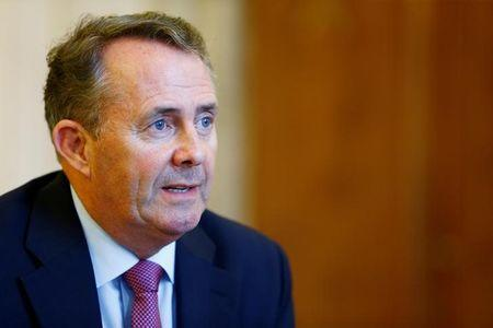 International Trade Secretary Liam Fox speaks during an interview with Reuters at the World Trade Organization (WTO) in Geneva, Switzerland, July 20, 2017. REUTERS/Pierre Albouy