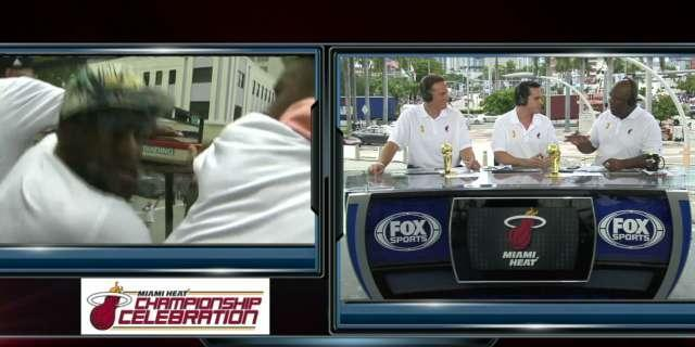 Heads up! LeBron James, Heat duck to avoid overpasses during championship parade (Video)