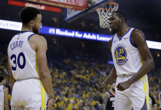 Stephen Curry and Kevin Durant together just wasn't fair. (AP Photo/Ben Margot)
