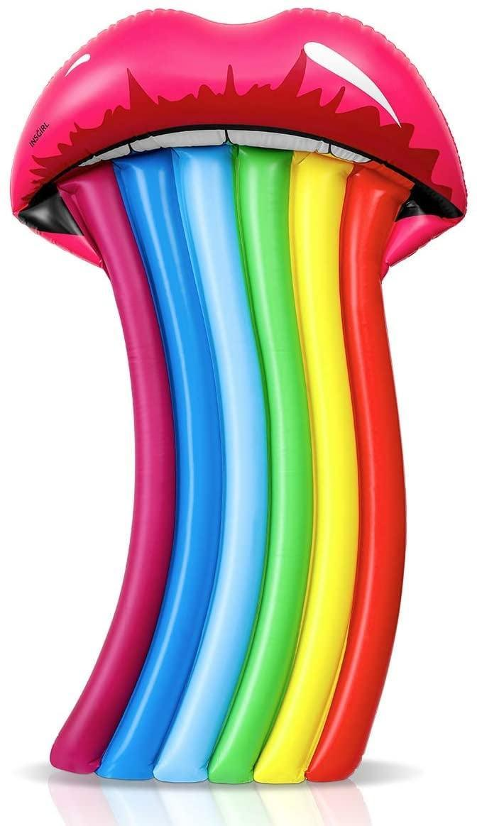 <p>Truly taste the rainbow with this eccentric <span>Rainbow Mouth Water Raft Float</span> ($23).</p>