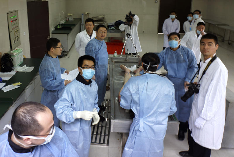 In this photo taken and released April 15, 2013 by lawyer Si Weijiang, Chinese government official and forensic officials prepare to conduct an autopsy on the body of Yu Qiyi in the eastern city of Wenzhou, China. Yu had a promising career in a government investment company when he disappeared on his way home from a business trip March 1, 2013. Thirty-eight days later, the bespectacled, boyish-looking engineer died after turning up in a hospital emaciated, with bruises on his arms and thighs, dark welts on his buttocks and scrapes on his feet and shins. Images of his battered and bruised body have made him a rallying point for critics of the party's internal anti-corruption system that operates outside the law, allowing for abuses like the ones Yu's supporters allege he suffered. (AP Photo/Si Weijiang) EDITORIAL USE ONLY