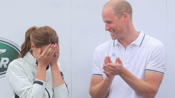 PHOTO: Catherine, Duchess of Cambridge competing on behalf of The Royal Foundation is presented the Wooden Spoon at the inaugural Kings Cup regatta much to the amusement of Prince William, Duke of Cambridge on Aug. 08, 2019 in Cowes, England. (Chris Jackson/Getty Images)