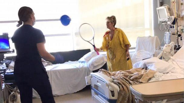 PHOTO: Genie Kilpatrick wanted to start practicing tennis as soon as she could, so she had her racket in the hospital after surgery. (Sheri Norris)