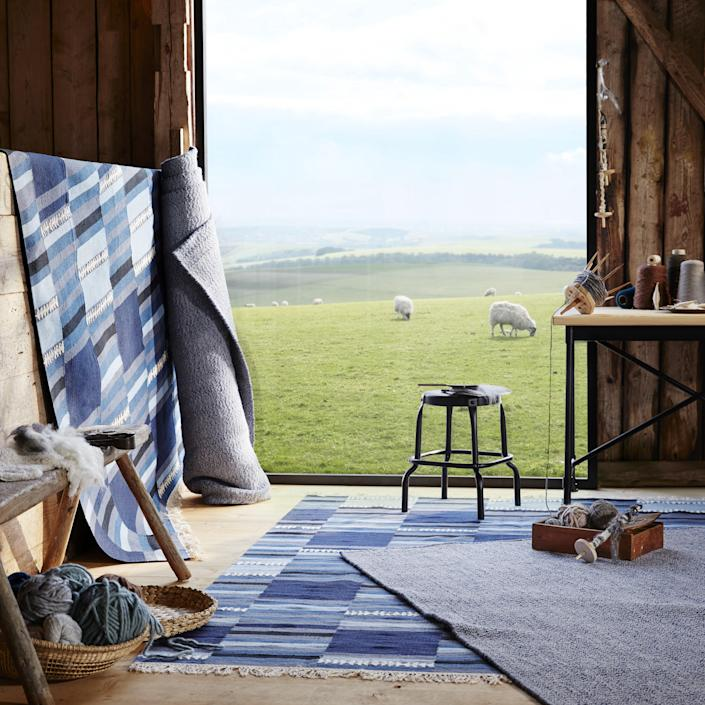 """The hints of indigo throughout this rug will bring a subtle burst of color to your space. Sadly, sheep and idyllic rolling hills not included with purchase. <a rel=""""nofollow noopener"""" href=""""https://www.ikea.com"""" target=""""_blank"""" data-ylk=""""slk:SHOP NOW"""" class=""""link rapid-noclick-resp"""">SHOP NOW</a>: TÄNKVÄRD rug by IKEA, $199, ikea.com."""