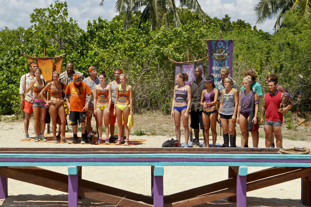 """There's Gonna be Hell to Pay"" - The Gota Tribe and the Bikal Tribe before the Immunity Challenge during the third episode of ""Survivor: Caramoan - Fans vs. Favorites."""