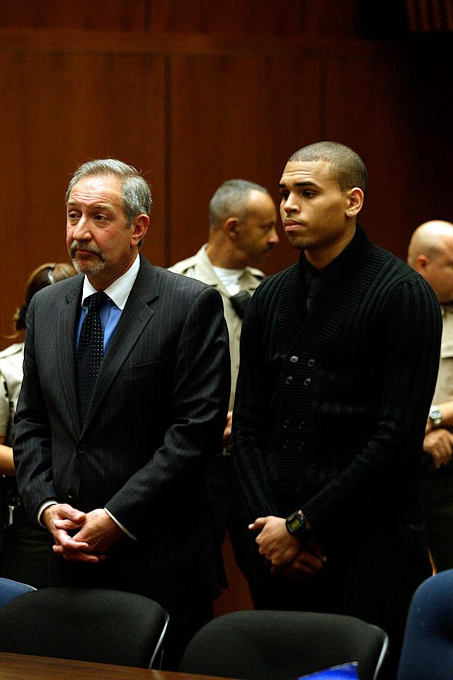"Chris Brown plead not guilty to assaulting Rihanna in a Los Angeles Court on Monday. Pooled Photos/<a href=""http://www.splashnewsonline.com"" target=""new"">Splash News</a> - April 6, 2009"