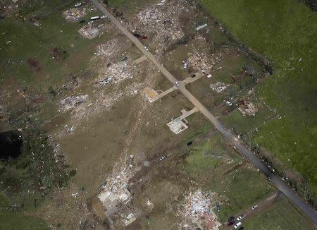Aerial view of central town after a tornado hit Vilonia, Arkansas