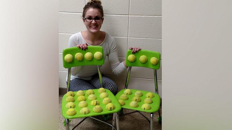 Teacher creates tennis ball chair to help students with autism with sensory issues
