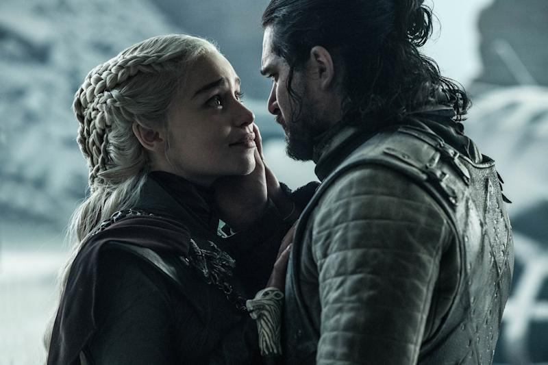 Emilia Clarke and Kit Harington in Game of Thrones (Credit: HBO)