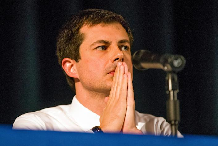 Democratic presidential candidate and South Bend Mayor Pete Buttigieg looks on during a town hall community meeting, Sunday, June 23, 2019, at Washington High School in South Bend, Ind. Buttigieg faced criticism from angry black residents at the emotional town hall meeting, a week after a white police officer fatally shot a black man in the city. (Robert Franklin/South Bend Tribune via AP)
