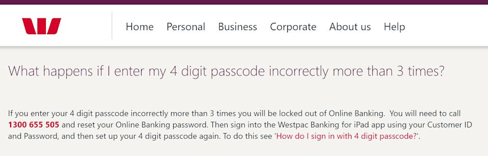 Westpac's policy on the number of incorrect password attempts before lockout.