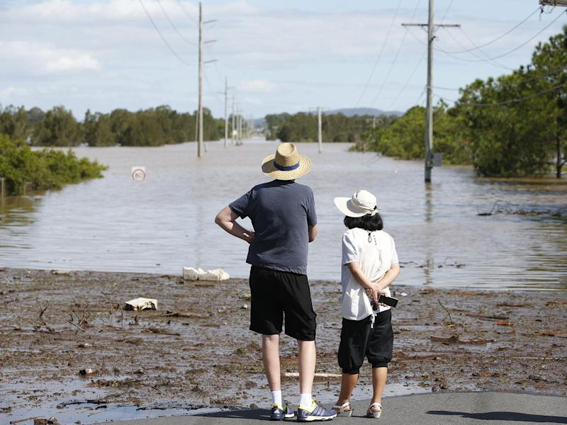 A severe rain depression is currently taking place throughout south-east Queensland on the back of ex-Tropical Cyclone Debbie, causing floods in the areas: EPA