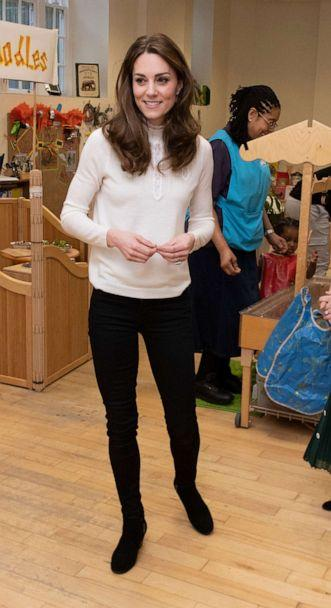 PHOTO: Britain's Catherine, Duchess of Cambridge gestures during a visit to London Early Years Foundation at Stockwell Gardens Nursery and Pre-school in London on Jan. 29, 2020. (Phil Harris/AFP via Getty Images)