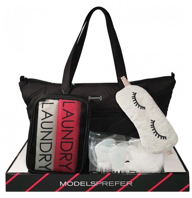 Picture of Models Prefer Tote and Travel Accessories Set 9 Piece with bag and eye mask