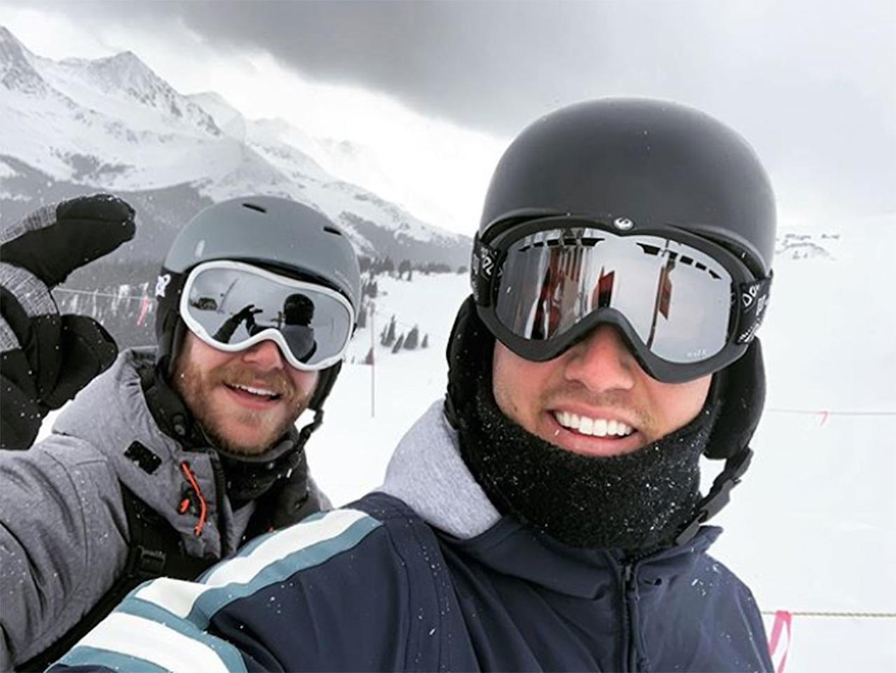 """<p>The <em>Bachelor </em>star hit the slopes on Colorado's Copper Mountain. """"Flyboys for life,"""" he captioned the scenic snap with friend Thomas Johnson. The two-night live finale of his reality show<em> </em>airs Monday.</p>"""
