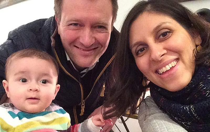 Nazanin Zaghari-Ratcliffe with her husband Richard Ratcliffe and their daughter Gabriella - PA