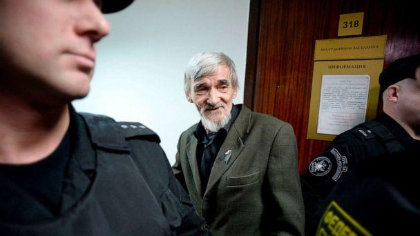 PHOTO: In this file photo taken on April 05, 2018 Russian historian Yury Dmitriyev, who heads rights group Memorial's branch in Karelia, arrives for the verdict in his child pornography trial at a court in the city of Petrozavodsk in northwestern Russia. (Olga Maltseva/AFP via Getty Images)