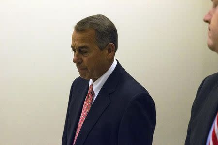 U.S. House Speaker John Boehner (R-OH) departs following a news conference at the U.S. Capitol in Washington December 11, 2014. REUTERS/Jonathan Ernst