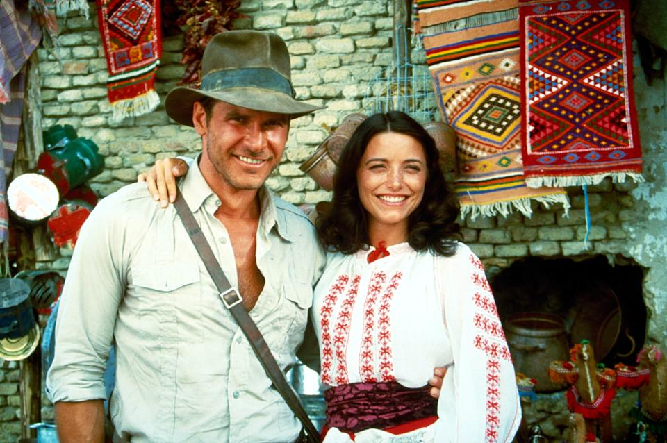 Harrison Ford as Indiana Jones and Karen Allen as Marion Ravenwood on the set of 'Raiders of the Lost Ark' (Photo: Paramount/courtesy Everett Collection)