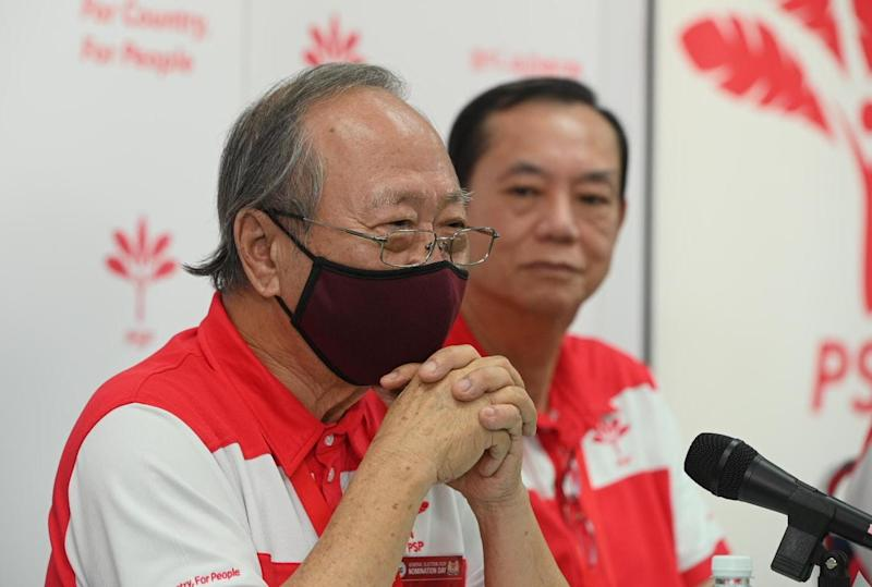 PSP chief Dr Tan Cheng Bock speaking to the media alongside party members on a post-election results press conference in the morning of 11 July, 2020. (PHOTO: Joseph Nair/Yahoo News Singapore)
