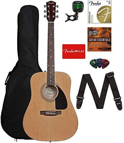 """<p><strong>Fender</strong></p><p>amazon.com</p><p><strong>$199.99</strong></p><p><a href=""""https://www.amazon.com/dp/B08FBQSHKK?tag=syn-yahoo-20&ascsubtag=%5Bartid%7C10050.g.29785465%5Bsrc%7Cyahoo-us"""" rel=""""nofollow noopener"""" target=""""_blank"""" data-ylk=""""slk:Shop Now"""" class=""""link rapid-noclick-resp"""">Shop Now</a></p><p>This guitar """"bundle"""" comes with a gig bag, tuner, strings, strap, picks, and more. It's the perfect gift for any aspiring musician.</p>"""