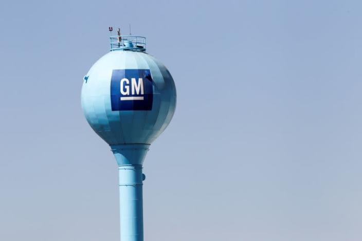 The GM logo is seen on a water tank of the General Motors assembly plant in Ramos Arizpe