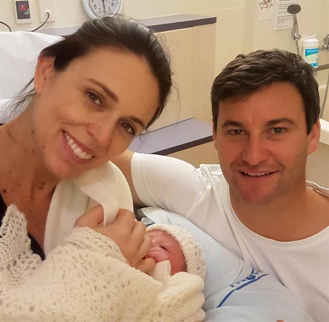 Jacinda Ardern and partner Clarke Gayford are proud parents. (Photo: Getty Images)