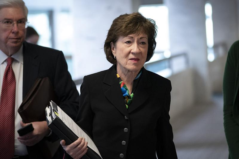 Sen. Susan Collins, R-Maine, arrives for a meeting with a select group of Senate Republicans, Senate Democrats, and Trump administration officials in the Hart Senate Office Building on Capitol Hill March 20, 2020 in Washington.