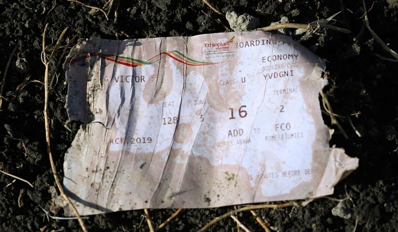 A boarding pass is seen at the scene of the Ethiopian Airlines Flight ET 302 plane crash, near the town of Bishoftu, southeast of Addis Ababa, Ethiopia March 11, 2019. (Photo: Tiksa Negeri/Reuters)