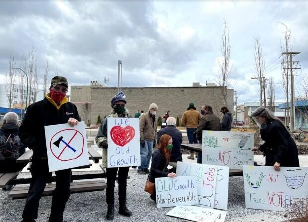 About 70 people gather in downtown Prince George, B.C., on Friday to demand an end to old-growth logging in northern British Columbia. (Andrew Kurjata/CBC - image credit)