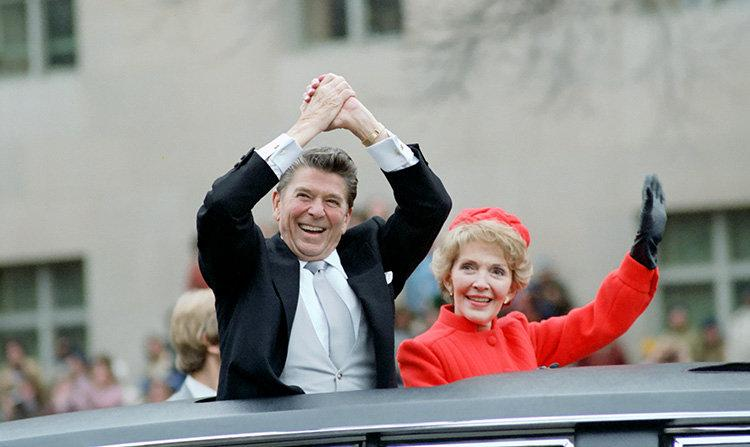 Ronald and Nancy Reagan wave from the limousine during their inaugural parade in Washington, D.C., U.S. in January 1981.      Ronald Reagan Presidential Library/Handout via REUTERSATTENTION EDITORS - THIS IMAGE WAS PROVIDED BY A THIRD PARTY. EDITORIAL USE ONLY