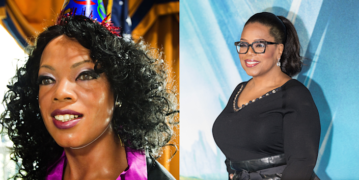 <p>To be fair to the hat, this Wax Oprah is attending Wax Barack Obama's 50th birthday party, but I still have questions about that eyeshadow. Real Oprah would never! </p>