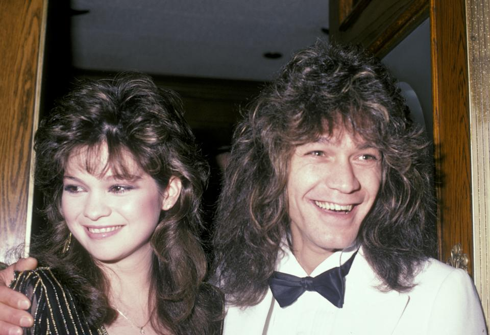"""Valerie Bertinelli and Eddie Van Halen during Wrap Party For """"One Day At A Time"""" at Chasen's Restaurant in Beverly Hills, California, United States. (Photo by Ron Galella/Ron Galella Collection via Getty Images)"""