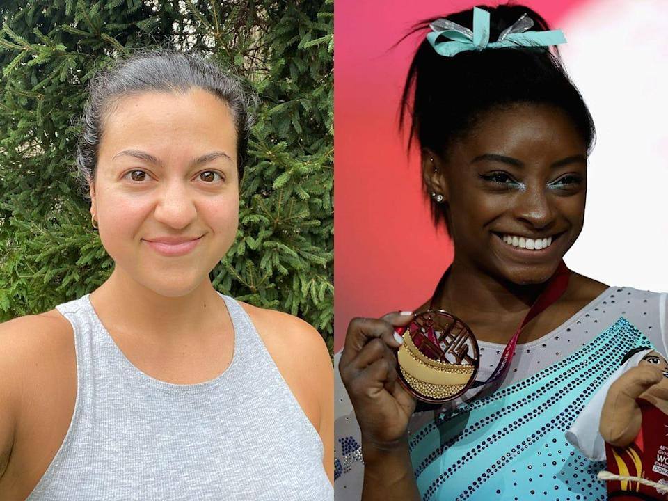 The writer on the left and Simone Biles holding a gold medal on the right.