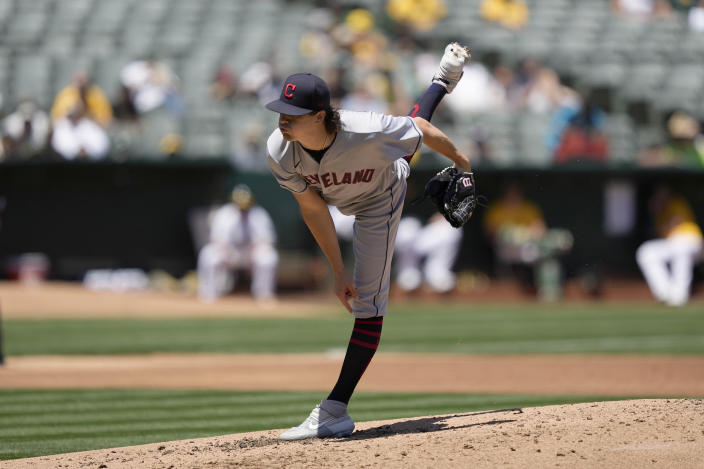 Cleveland Indians starting pitcher Cal Quantrill throws against theOakland Athletics during the second inning of a baseball game Saturday, July 17, 2021, in Oakland, Calif. (AP Photo/Tony Avelar)