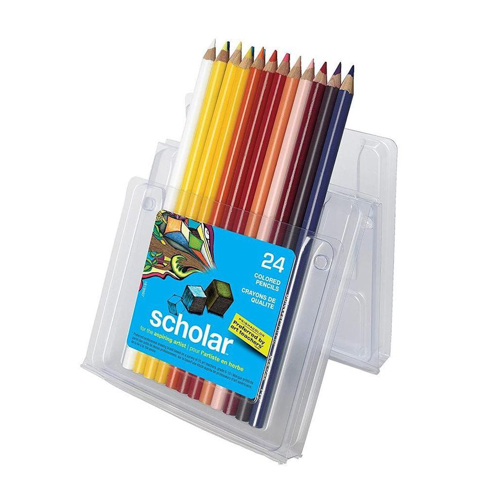 """<p><strong>Prismacolor</strong></p><p>amazon.com</p><p><strong>$13.08</strong></p><p><a href=""""https://www.amazon.com/dp/B000J07P9U?tag=syn-yahoo-20&ascsubtag=%5Bartid%7C2089.g.37199069%5Bsrc%7Cyahoo-us"""" rel=""""nofollow noopener"""" target=""""_blank"""" data-ylk=""""slk:Shop Now"""" class=""""link rapid-noclick-resp"""">Shop Now</a></p><p>Prismacolor's colored pencils lay down rich and vibrant colors that'll truly make your child's artwork pop. They come in a rigid plastic case that's sturdier and won't rip like Crayola's colored pencil sets.</p><p>Plus, the pencils themselves are much harder to break and are better in quality than other budget pencil brands. If you want a more diverse color set, consider spending a little extra for the Premier Set, which blends better and comes in a metal case.</p>"""