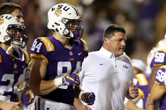 Ed Orgeron and the rest of the LSU program received good news on Thursday. (Photo by Chris Graythen/Getty Images)