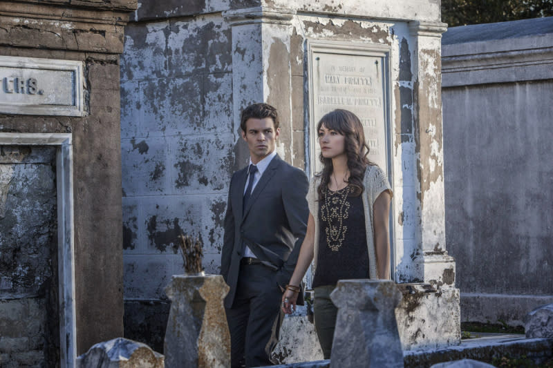 """The Originals"" -- Daniel Gillies as Elijah and Daniella Pineda as Sophie"