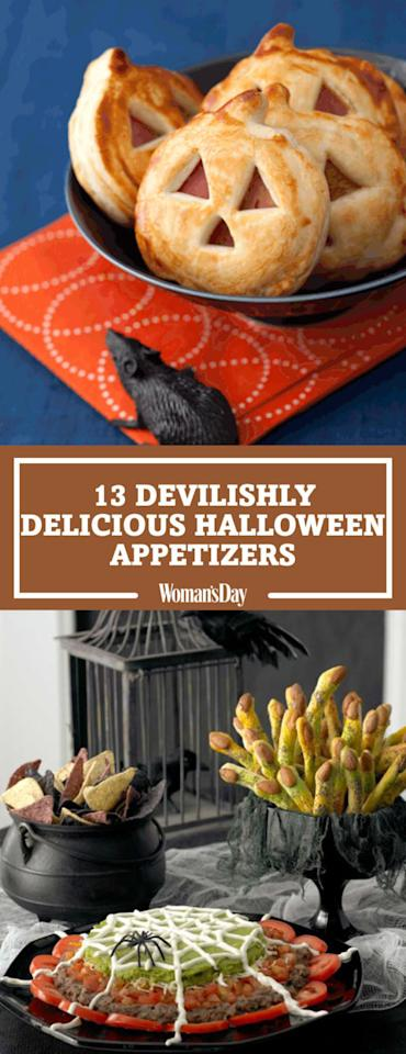 "<p>Save these Halloween appetizers for later by pinning this image! Follow Woman's Day on <a rel=""nofollow"" href=""https://www.pinterest.com/womansday/"">Pinterest</a> for more cute Halloween recipes. </p>"