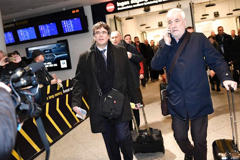 Spanish prosecutors on Monday sought a European arrest warrant for Puigdemont as he arrived in Copenhagen in his first trip outside of Belgium since he fled to the country. (AFP Photo/Tariq Mikkel Khan)