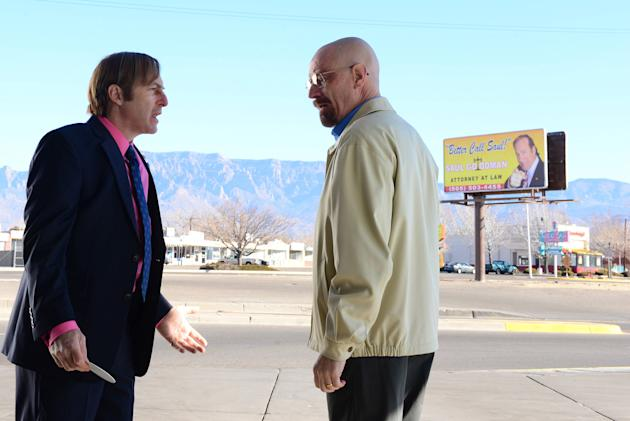 Saul Goodman (Bob Odenkirk) and Walter White (Bryan Cranston) in the 'Breaking Bad' Season 5 episode, 'To'hajiilee.'